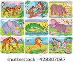 set of cute african animals.... | Shutterstock . vector #428307067