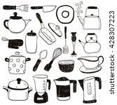 hand draw kitchen utensils... | Shutterstock .eps vector #428307223
