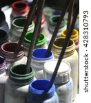 Small photo of Painting set, brushes, paints, watercolor, acrylic paint