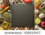 herbs and spices at stone table ... | Shutterstock . vector #428315917