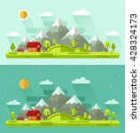 flat design vector day and... | Shutterstock .eps vector #428324173