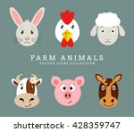 set of cute farm animals head... | Shutterstock .eps vector #428359747