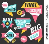 colorful sale banners  discount ... | Shutterstock .eps vector #428386933