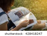 woman reading a magazine in... | Shutterstock . vector #428418247