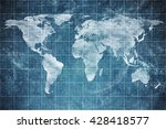 world map on old blueprint... | Shutterstock . vector #428418577