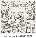 hand drawn doodle breakfast set.... | Shutterstock .eps vector #428423077