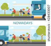 people are waiting a bus and... | Shutterstock .eps vector #428433007