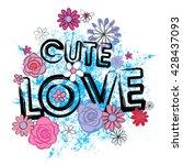 typography cute romantic love... | Shutterstock .eps vector #428437093