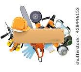 vector wooden board with tools | Shutterstock .eps vector #428446153