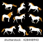 Set Of White Unicorns On Black...