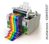 printer and cmyk cartridges for ... | Shutterstock . vector #428455537