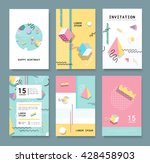 set memphis cards for... | Shutterstock .eps vector #428458903