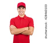 smiling delivery man in red... | Shutterstock . vector #428460103