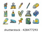 stationery and drawing icons... | Shutterstock .eps vector #428477293