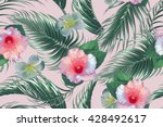 tropical flowers  palm leaves ... | Shutterstock .eps vector #428492617