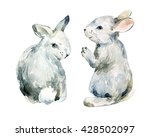 Watercolor Grey Rabbit Set...