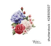bouquet of peonies  watercolor  ... | Shutterstock . vector #428505037