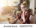 woman surrounded with digital... | Shutterstock . vector #428553793
