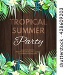 bright hawaiian design with... | Shutterstock .eps vector #428609203