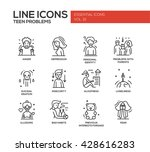 set of modern vector plain line ... | Shutterstock .eps vector #428616283