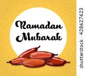 dry date fruit ramadan mubarak...   Shutterstock .eps vector #428627623