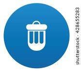 bin icon on blue button vector