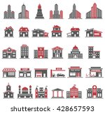building icons set in red and... | Shutterstock . vector #428657593