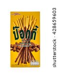 Small photo of BANGKOK, THAILAND - MAY 27, 2016 : Biscuit box name Pocky isolated on white background