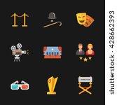 nine modern cinema icons | Shutterstock . vector #428662393