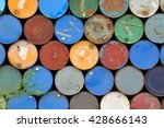 front view of many rusty iron... | Shutterstock . vector #428666143