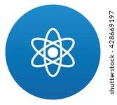 atom icon on blue button vector