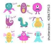 set of cute cartoon monsters... | Shutterstock . vector #428673913