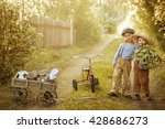 two little boys playing in the... | Shutterstock . vector #428686273