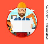 a hipster engineer watching a... | Shutterstock .eps vector #428708797