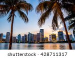 Miami  Florida Skyline And Bay...