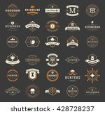Vintage Logos Design Templates Set. Vector Labels Elements  Retro Badges and Silhouettes. Big Collection 30 Items. | Shutterstock vector #428728237