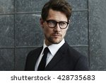 suave man in spectacles and... | Shutterstock . vector #428735683