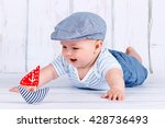 happy little baby sailor | Shutterstock . vector #428736493