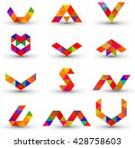 set of abstract geometric... | Shutterstock .eps vector #428758603