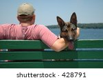 man and dog - stock photo
