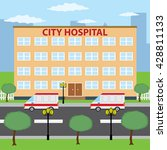 two ambulance cars parking near ... | Shutterstock . vector #428811133