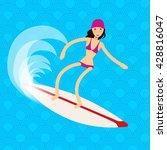 cool vector surfer girl in surf ... | Shutterstock .eps vector #428816047