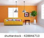 orange room with sofa. living... | Shutterstock . vector #428846713