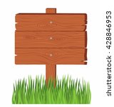 wooden board on a grass. old... | Shutterstock .eps vector #428846953