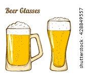 two glasses of beer  hand... | Shutterstock .eps vector #428849557
