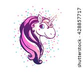 magic unicorn with confetti.... | Shutterstock .eps vector #428857717