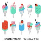collection of cute summer ice... | Shutterstock .eps vector #428869543
