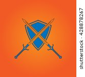 two swords and shield. blue...   Shutterstock .eps vector #428878267