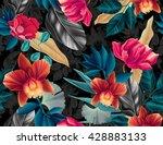 seamless tropical flower  plant ... | Shutterstock . vector #428883133