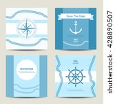 set of four nautical invitation ... | Shutterstock .eps vector #428890507